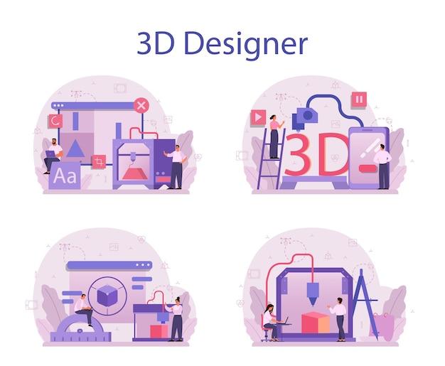 Conjunto de conceptos de modelado 3d de diseñador