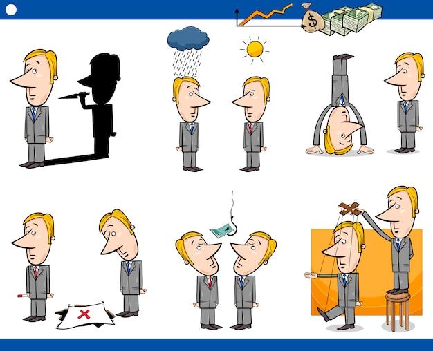 Conjunto de conceptos de negocios de dibujos animados