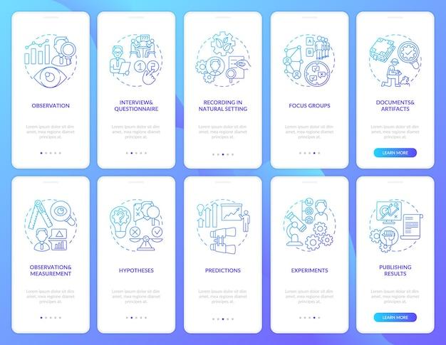Conjunto de conceptos de pantalla de página de aplicaciones móviles de incorporación de documentos y artefactos. tutorial de grupos focales y experimentos instrucciones gráficas de 5 pasos. plantilla de interfaz de usuario con ilustraciones en color rgb