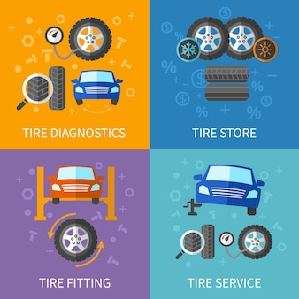 Conjunto de conceptos planos de servicio de neumáticos. banner de diagnóstico y reparación de automóviles.