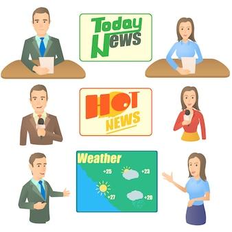 Conjunto de conceptos de presentador de noticias.