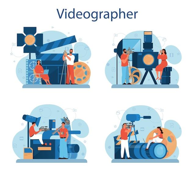 Conjunto de conceptos de producción de video o camarógrafo