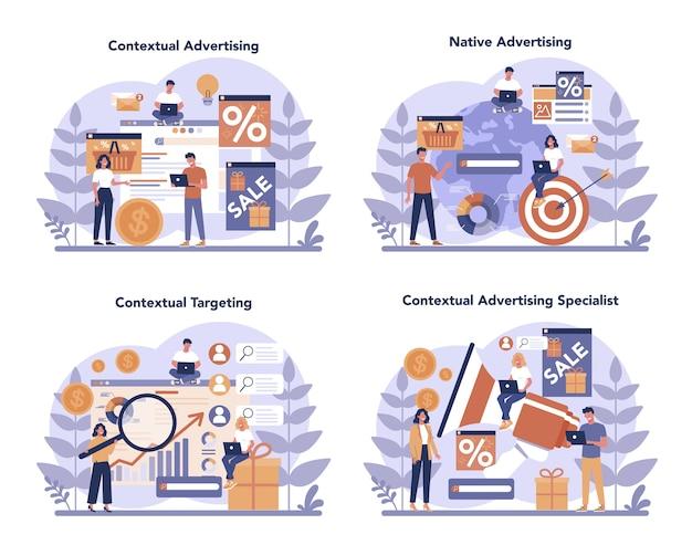 Conjunto de conceptos de publicidad contextual y orientación