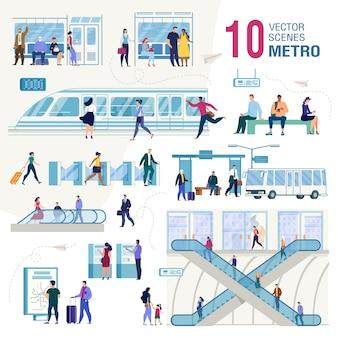 Conjunto de conceptos de vector plano de transporte público de la ciudad