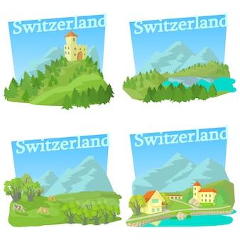 Conjunto de conceptos de viaje de suiza