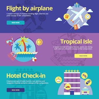 Conjunto de conceptos para vuelo en avión, isla tropical, check-in en hotel. conceptos para web s y materiales impresos.