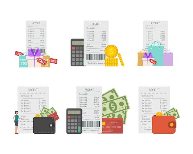 Conjunto conceptual que recibe un cheque sobre el pago en la tienda.