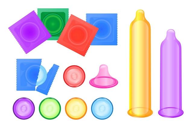 Conjunto de condones realistas de látex aislados o anticonceptivos masculinos para la seguridad y el sexo saludable o los hombres