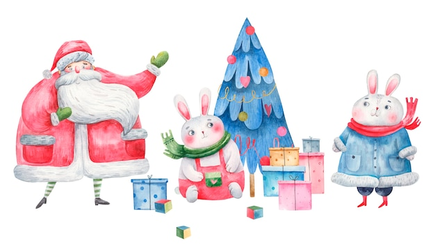 Conjunto de conejitos para el nuevo año, en un abrigo de piel, con un árbol, ilustración infantil.