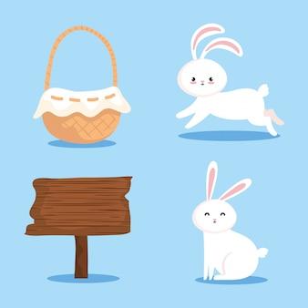 Conjunto de conejos con cesta de mimbre y señal de madera