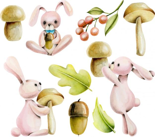 Conjunto de conejos lindos acuarelas y plantas de otoño.