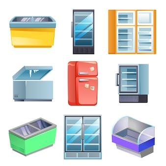 Conjunto de congelador, estilo de dibujos animados