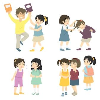 Conjunto de conjunto de bullying de niños traviesos