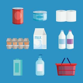 Conjunto de conjunto de comestibles del mercado