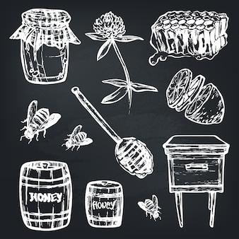Conjunto con conjunto de elementos de miel.
