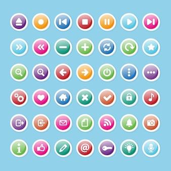Conjunto de conjunto de iconos multimedia
