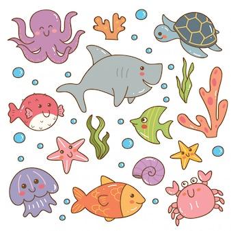 Conjunto de conjunto de kawaii de animales marinos