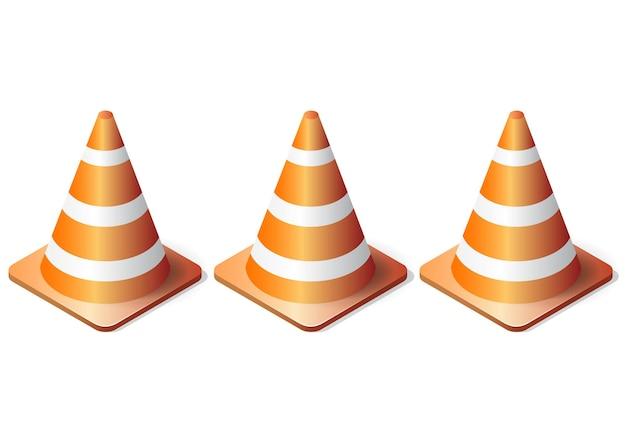 Conjunto de conos de tráfico realista isométrico aislado sobre fondo blanco