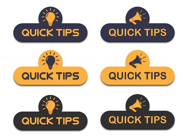 Conjunto de consejos rápidos con megáfono y bombilla en un diseño plano