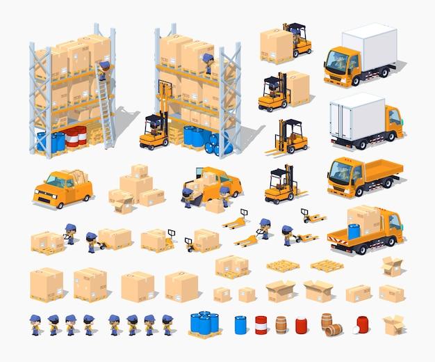 Conjunto de construcción de almacén isométrico 3d lowpoly
