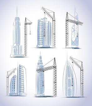 Conjunto de construcción de edificios rascacielos.