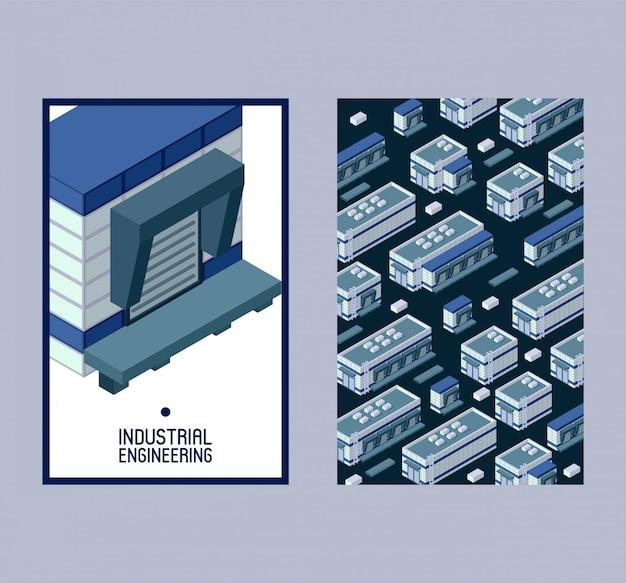 Conjunto de construcción isométrica de ingeniería industrial de