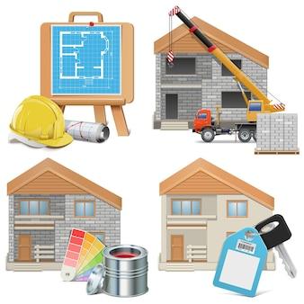 Conjunto de construcción de viviendas aislado en blanco