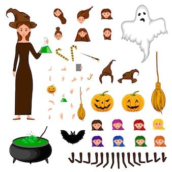 Conjunto de constructor de halloween de personajes femeninos. chica con atributos de vacaciones.