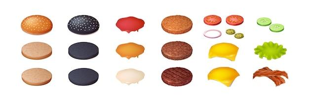 Conjunto de constructor de hamburguesa de ingredientes de hamburguesa