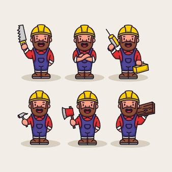 Conjunto de constructor de obrero carpintero lindo
