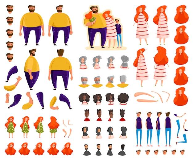 Conjunto de constructor de personajes de dibujos animados familiares, ilustración
