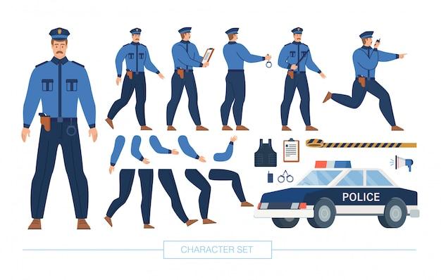 Conjunto de constructor de personajes de oficial de policía