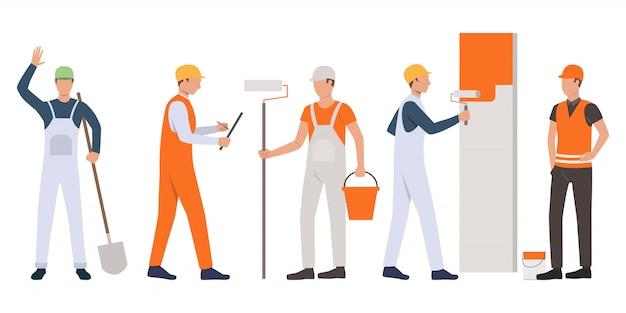 Conjunto de constructores, capataces, pintores y artesanos trabajando.