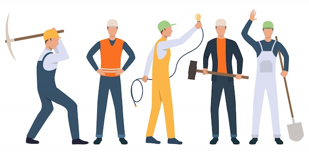 Conjunto de constructores, electricistas y operarios que trabajan.