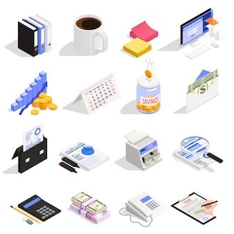 Conjunto de contabilidad de iconos isométricos con ahorro de dinero en línea, cálculo y documentación de impuestos bancarios