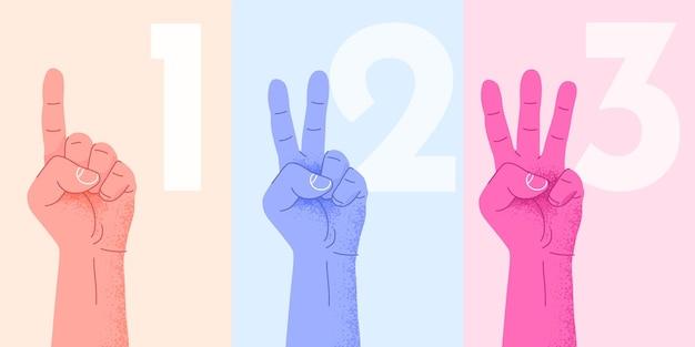 Conjunto de contar uno, dos, tres, mano, señal, tres pasos, o, opciones, concepto