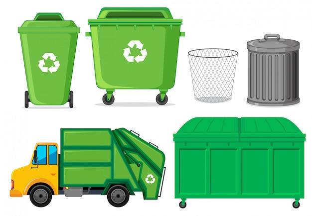 Conjunto de contenedor de residuos