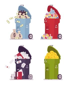 Conjunto de contenedores de basura