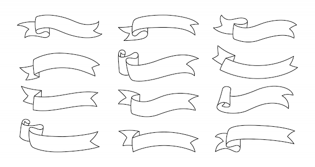 Conjunto de contorno de cinta. cinta decorativa doblada en una colección de iconos de lado. diseño moderno, estilo de dibujos animados de boceto de cintas lineales. kit de iconos web de banner de texto. ilustración aislada