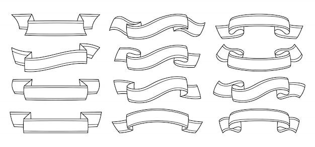 Conjunto de contorno de cinta. iconos decorativos, cinta colección plana en blanco. diseño monocromático moderno, estilo de dibujos animados de signo de cintas lineales. kit de iconos web de banner de texto. ilustración aislada