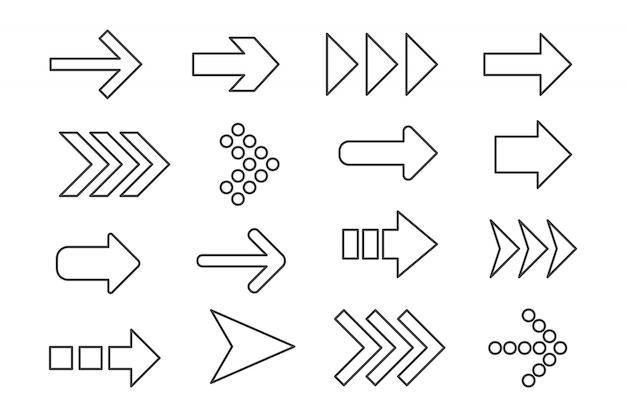 Conjunto de contorno de flechas negras