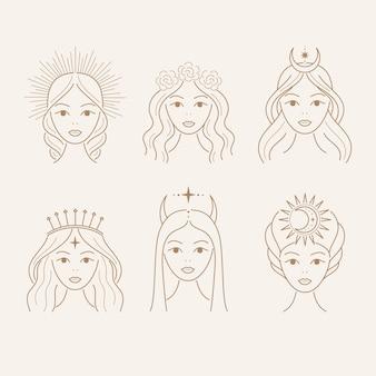Conjunto de contorno hermoso de la diosa. ilustración