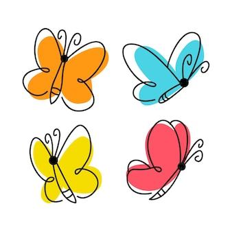 Conjunto de contorno de mariposa dibujada a mano