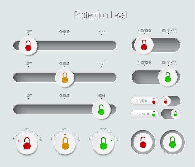 Conjunto de controles deslizantes, botones e interruptores.