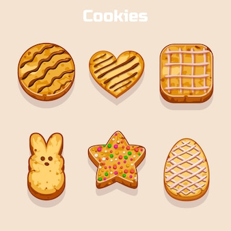 Conjunto de cookies en diferentes formas