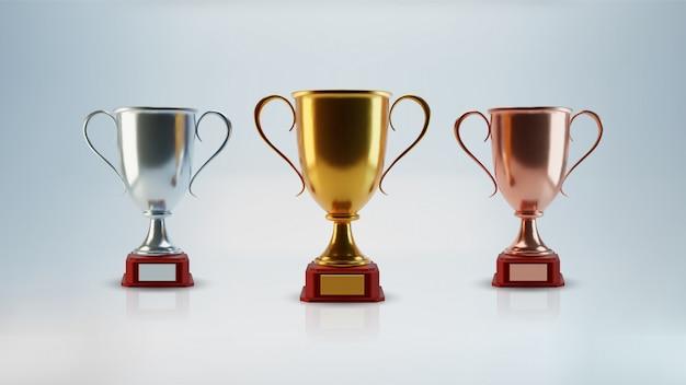 Conjunto de copa de oro, objetos 3d aislados, diseño realista. cartel y elemento para torneos deportivos y otros eventos. símbolo de victoria y éxito. concepto de celebración y ceremonia.