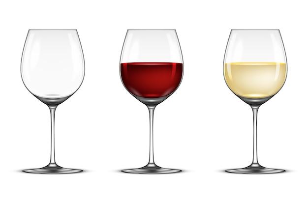 Conjunto de copa de vino realista - vacío, con vino blanco y tinto, aislado sobre fondo blanco.