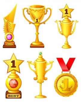 Conjunto de copas de oro y medalla.