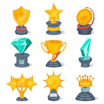 Conjunto de copas de oro y premios