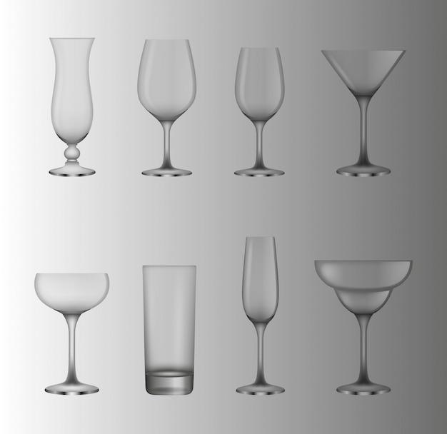 Conjunto de copas transparentes de cóctel y vino